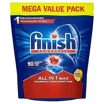 Tabletas para lavavajillas Finish todo en 1 limón tabletas (paquete de 90)