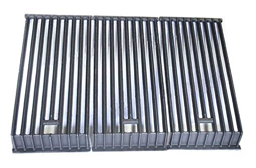 Hongso PCB503 Cast Iron Water Fall Cooking Grid Replacement for Broilmaster D3, G-3 (Single Post), G-3 (Twin Post), G-3 EXPL, G-3 EXPN, G-3 TXPL, Thermos 56036T Gas Grill Models, Set of 3 -