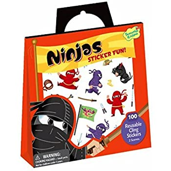 Peaceable Kingdom Ninjas Reusable Sticker Tote - 2 Scenes and 100 Cling Stickers
