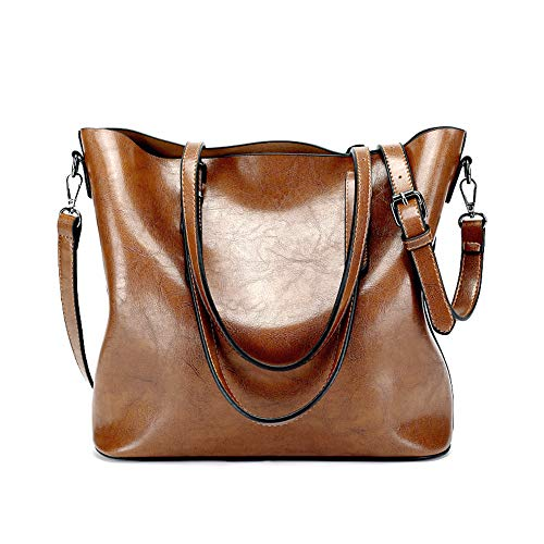 Women's Shoulder Handbags PU Leather Tote Handbags Vintage Style Soft Large Satchel Handbags With Adjustable Handles (brown)