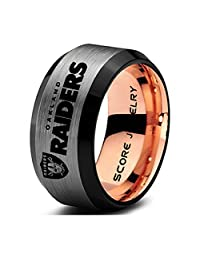 Black Tungsten Band with Rose Gold Interior and Beveled Edge Football Ring Oakland Raiders Ring Logo Laser Engraved 8mm Tungsten Ring