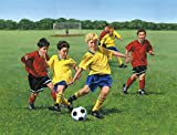 10.5-Feet wide by 8-Feet high. Prepasted robust wallpaper mural from a photo of:Teenagers soccer game.Original painting from Tony Floreani.Our murals are easy to install remove and reuse (hang again)