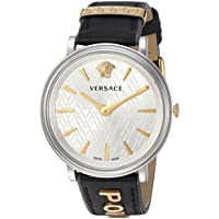 Versace Women's 'Manifesto Edition' Swiss Quartz Stainless Steel and Leather Casual Watch, Color:Black (Model: VBP110017)