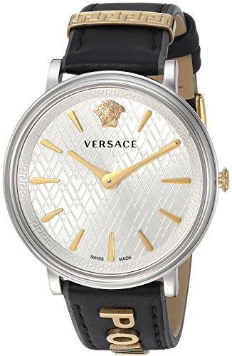 Versace Women's Manifesto Edition Stainless Steel Swiss-Quartz Watch with Leather Calfskin Strap, Black, 11 (Model: VBP110017)