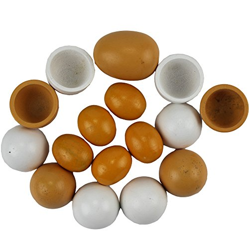 6pcs Wooden Easter Eggs Yolk Pretend Children Play Kitchen Game Cook Food Kids Toy