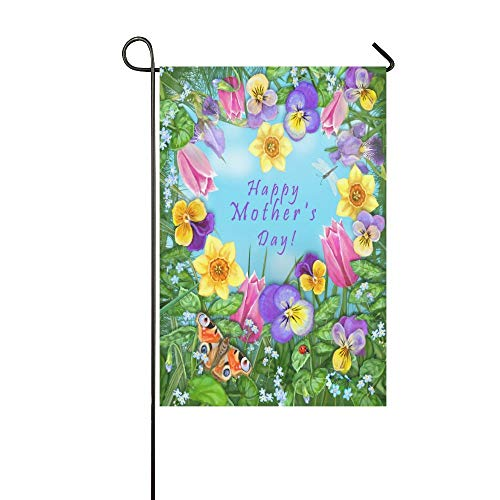 HUVATT Pansy Tulip Daffodil Iris Dragonfly Ladybug Butterfly Flower Polyester House Garden Flag Banner, Happy Day Decorative Flag for Wedding Home Outdoor Garden Decor 28x40 inches