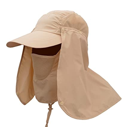 80573bf63f5 Amazon.com   Sun Cap Fishing Hat Neck Face Protection Mask-UV proof ...