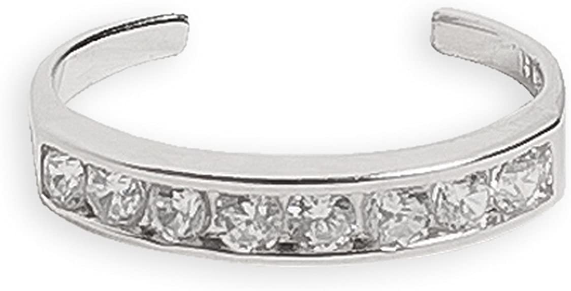 Toe Ring | Half Eternity .925 Sterling Silver & Cubic Zirconia | Adjustable Ring for Foot Or Midi