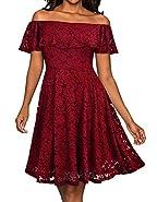 Mysmantic Women Dresses Fashion Off The Shoulder Soft Lace Dress(S-XXL)