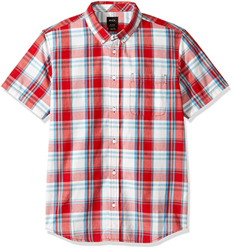 RVCA Men's Stanek Plaid Short Sleeve Shirt, Pompeii Red, Medium ()