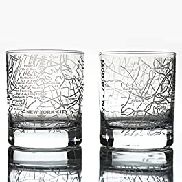 Greenline Goods Whiskey Glasses – 10 Oz Tumbler Gift Set for New York City lovers, Etched with New York City Map | Old…