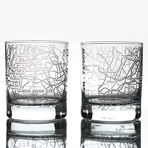 Greenline Goods Whiskey Glasses - 10 Oz Tumbler Gift Set for New York City lovers, Etched with New York City Map | Old Fashioned Rocks Glass - Set of 2 (Best Housewarming Gifts Nyc)