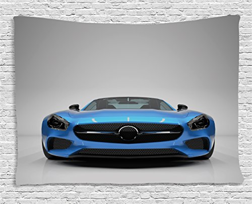 Ambesonne Teen Room Tapestry, Modern Blue Sports Car Power Prestige Speed Fast Vehicle Automobile Image, Wide Wall Hanging for Bedroom Living Room Dorm, 60