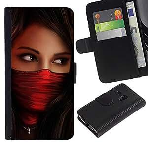 For Samsung Galaxy S3 MINI NOT REGULAR! I8190 I8190N,S-type® Woman Red Agent Babe - Dibujo PU billetera de cuero Funda Case Caso de la piel de la bolsa protectora