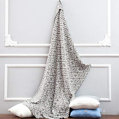 Blankets Bedding Geometric Casual Knitted Diamond Colored slipcover Cotton Lovers Sofa Wool (Color : White) ()