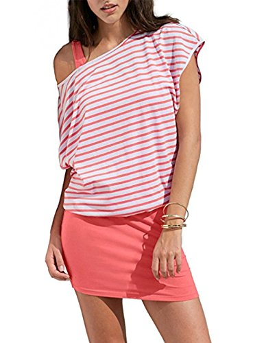 Pink Shirt Mini T Print 2 Bodycon Piece Dresses Tank Stripes Women's Casual Tops Loose XTxF7