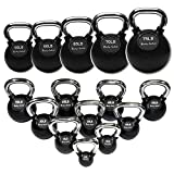 Body-Solid Chrome Handle Rubber Kettle Bell Set Singles (5-30-Pounds)