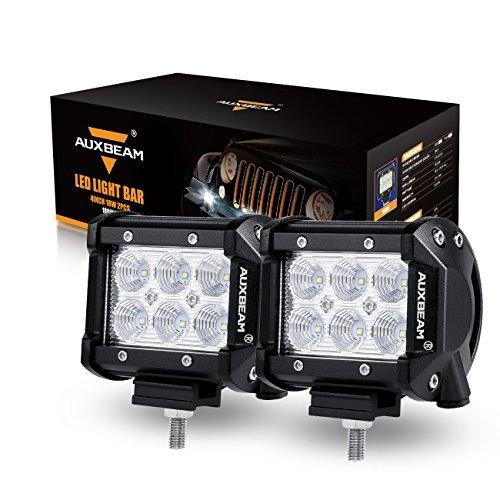 "Auxbeam LED Light Bar 4"" 18W LED Pods 1800LM Flood Beam Off Road Lights Waterproof LED Lights for Trucks Pickup Jeep SUV ATV UTV (Pack of 2)"