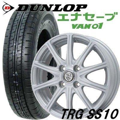 【アルミ付低燃費タイヤ4本セット】 DUNLOP 145R12 6PR エナセーブ VAN01 12X4.00B 4穴 PCD:100 インセット43 TGR-SS10 B01EFL7GLU
