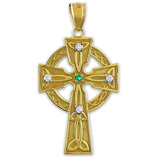 Petits Merveilles D'amour - Pendentif - 10 ct Or 471/1000 Celtique Celtique diamant Croix with Emerald