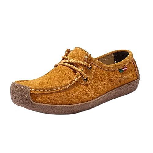 Mocasines De Mujer Pisos Mocasines con Cordones Plataforma Cuero Dividido Punta Cuadrada Damas Vintage Zapatos Casuales: Amazon.es: Zapatos y complementos