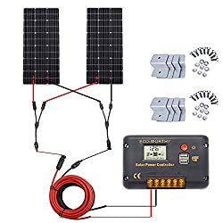 ECO-WORTHY 200 Watt (2pcs 100 Watt) Monocrystalline Solar Panel Complete Off-Grid RV Boat Kit with LCD Charge Controller + Solar Cable + Mounting Brackets