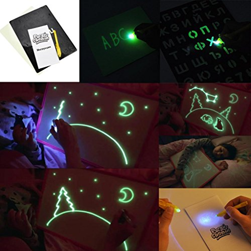 Sinwo Puzzle Drawing Toys Sketchpad Children Drawing Board Graffiti Fluorescent Sketchpad (A) ()