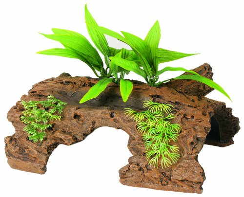 Marina Naturals Malaysian 1/2 Log Driftwood with Plants - Large by Marina