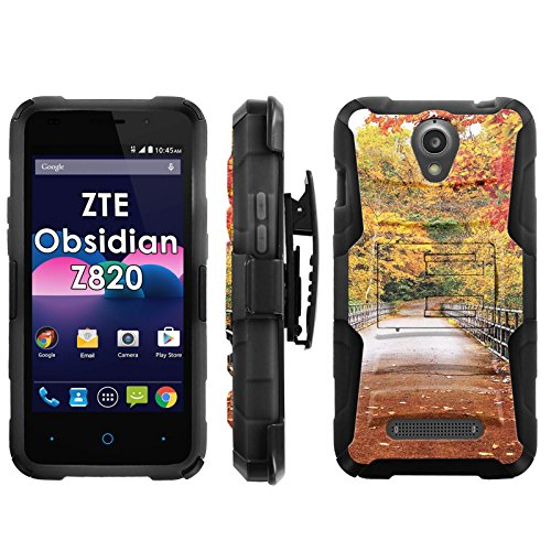(ZTE Obsidian Z820 Phone Cover, Autumn Leaves- Blitz Hybrid Armor Phone Case for [ZTE Obsidian Z820] with [Kickstand and Holster] [INCLUDES Ultra Clear Screen Protector])