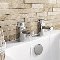 ENKI Hot and Cold Bath Filler Taps Square Designer Brass New Chrome DESIRE by ENKI