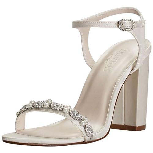 6a28dbf3963 David's Bridal Embellished Satin Block Heel Sandals Style ELSA
