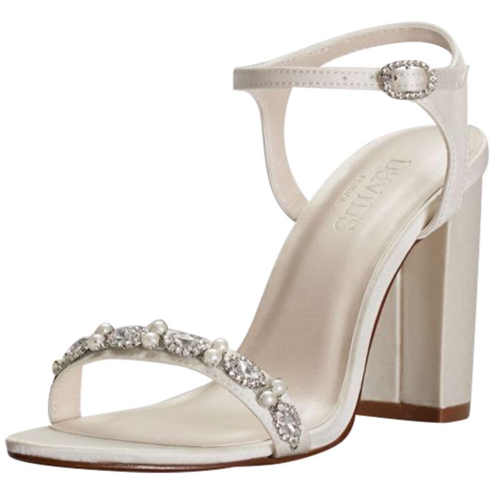 David's Bridal Embellished Satin Block Heel Sandals Style ELSA, Ivory, 5.5
