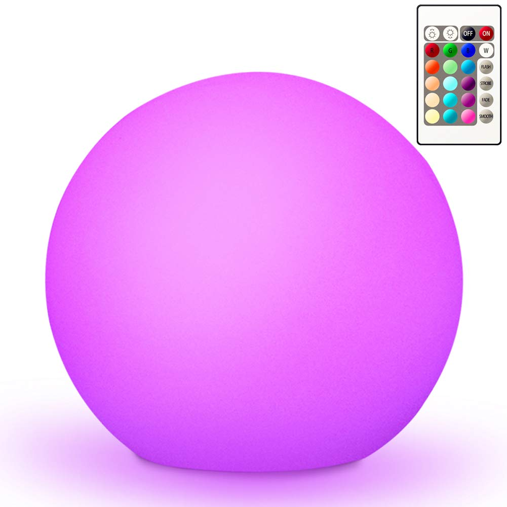10'' Ultra-fun Waterproof RGB Color-changing LED Ball Light Orb Globe Lamp, 16 Colors Dimmable 4 Lighting Effects, Ideal for Kids Night Light Party Outdoor Pool Garden Patio Ambient Decorative Lighting