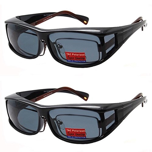 2 Pair Polarized Fit Over Wear Over Prescription Glasses Sunglasses -PC70077POL-Italian ()