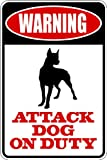 Top Selling Decals - Prices Reduced : WARNING SIGN Attack Dog On Duty – Animal Picture Art - Size : 8 Inches X 16 Inches - Vinyl Wall Sticker - 22 Colors Available