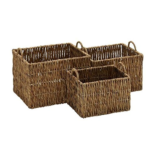 Coastal Living Natural Sea Grass Rectangular Open-top Baskets (Set of 3)