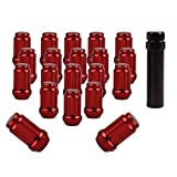 YITAMOTOR 20Pcs 12x1.5 Chrome Red 6 Spline Closed End Lug Nuts with Key - 19mm Hex for Ford Buick Toyota Mitsubishi Mazda Honda