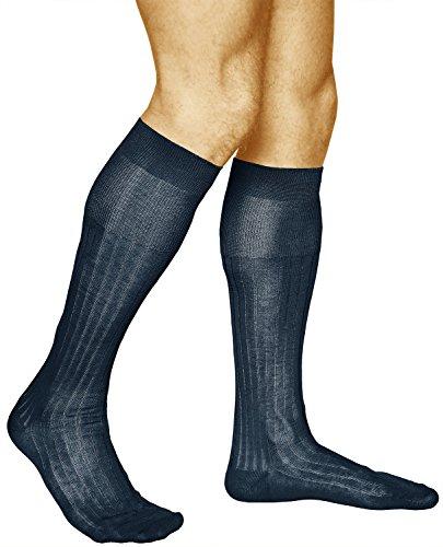 Ribbed Knee Sock - 2 Pairs Men's Knee High Socks Ribbed, 100% MERCERIZED COTTON, Elegant Long Over the Calf, Vitsocks Classic, 12-13, navy blue