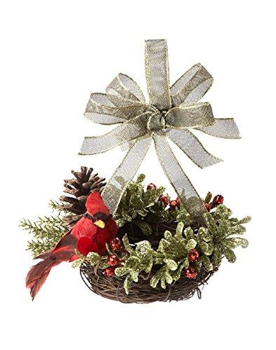 G Ganz Kissing Krystals Christmas - Mistletoe Mini Bird Nest Ornament (Christmas Birds Nest In Tree)