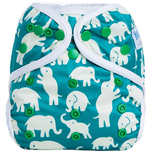 HappyEndingsTM One Size Cloth Diaper Cover AI2 System (Baby Elephants)