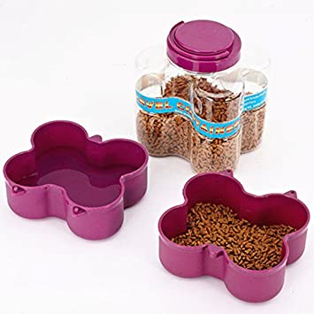 TOOGOO 2 en 1 Cuenco de almacenamiento de comida para mascotas funcional Cuenco de dispensador de
