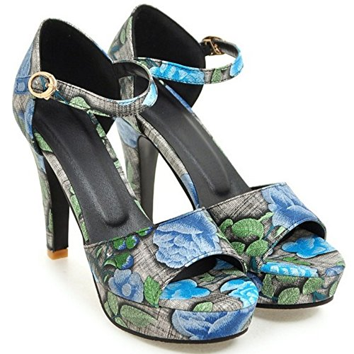 TAOFFEN Women Fashion Open Toe Ankle Strap Floral Summer High Heel Sandals Blue lj4MKHubSn
