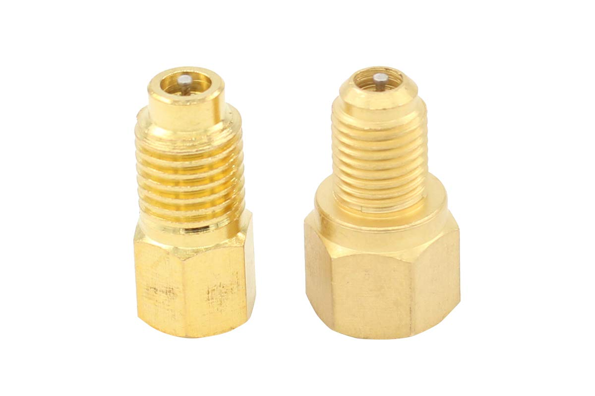 MOTOKU Set R134a to R12 & R12 to R134a, Connect Adapters 1/4' Female Flare x 1/2' Male Acme 1/2' Female Acme x 1/4' Male