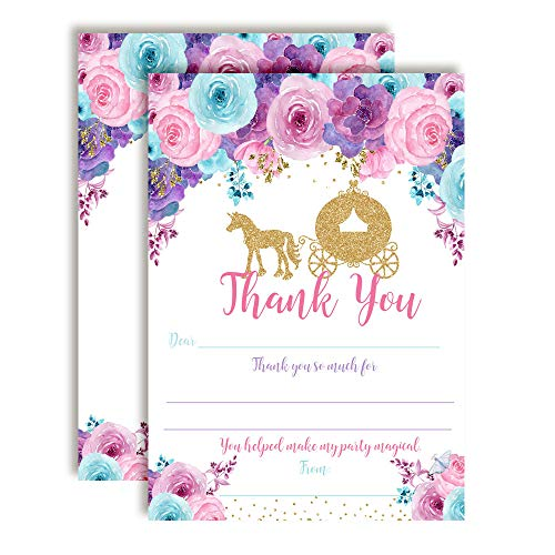 (Royal Celebration Gold Glitter Princess Carriage-Themed Thank You Notes for Girls, Ten 4