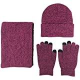 JOYEBUY Men 3 PCS Knitted Set Winter Warm Knit Hat + Scarf + Touch Screen Gloves (Rose)