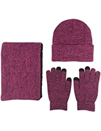 Men 3 PCS Knitted Set Winter Warm Knit Hat + Scarf + Touch Screen Gloves