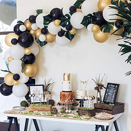 - Black &White &Gold Balloons Arch & Garland Kit,80pcs Latex White Black Gold Metallic Balloons with 6 Green Palm Leaves for Birthday Wedding Graduation Christmas Baby Bridal Shower Party Decoration