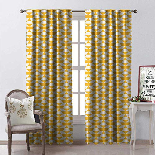Geometric Window Curtain Drape Modernistic Abstract Pattern Triangles and Trapezoids Graphic Customized Curtains W108 x L84 Pale Eggshell - Punch Marigold