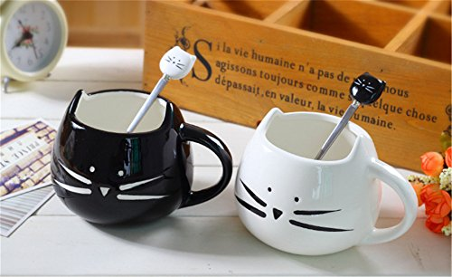 Kitty Cat Couple Matching Male and Female Mugs Tea Coffee Milk Cup Gift Wedding Lover Hug Gift Set