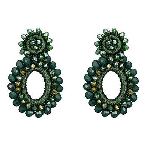 Bonnie Women's Beaded Clip-on Earring Boho Statement Crystal Beads Prom Drop Earring (Dark Green) (Beaded Clip On Earrings)